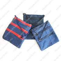 Сумочка для документов на шею джинса (18см-14см)